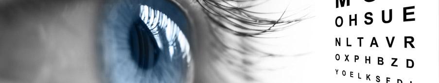 Oeil et optotype pour examen de la vue